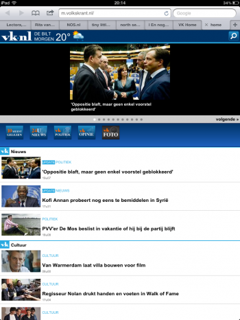 Volkskrant mobiele website